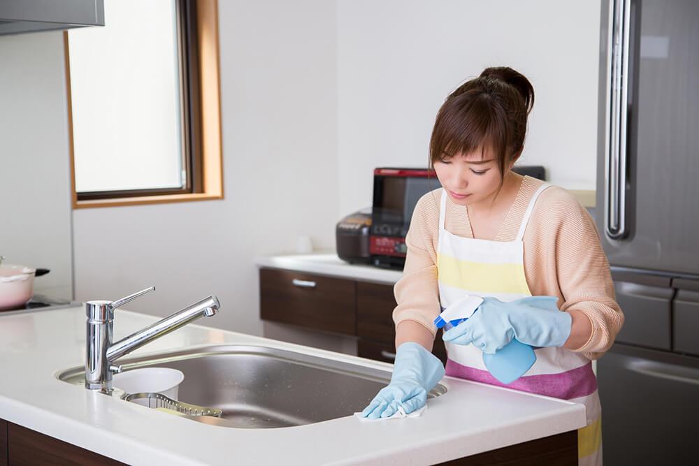 シンク・調理台の掃除は一番神経を使う場所